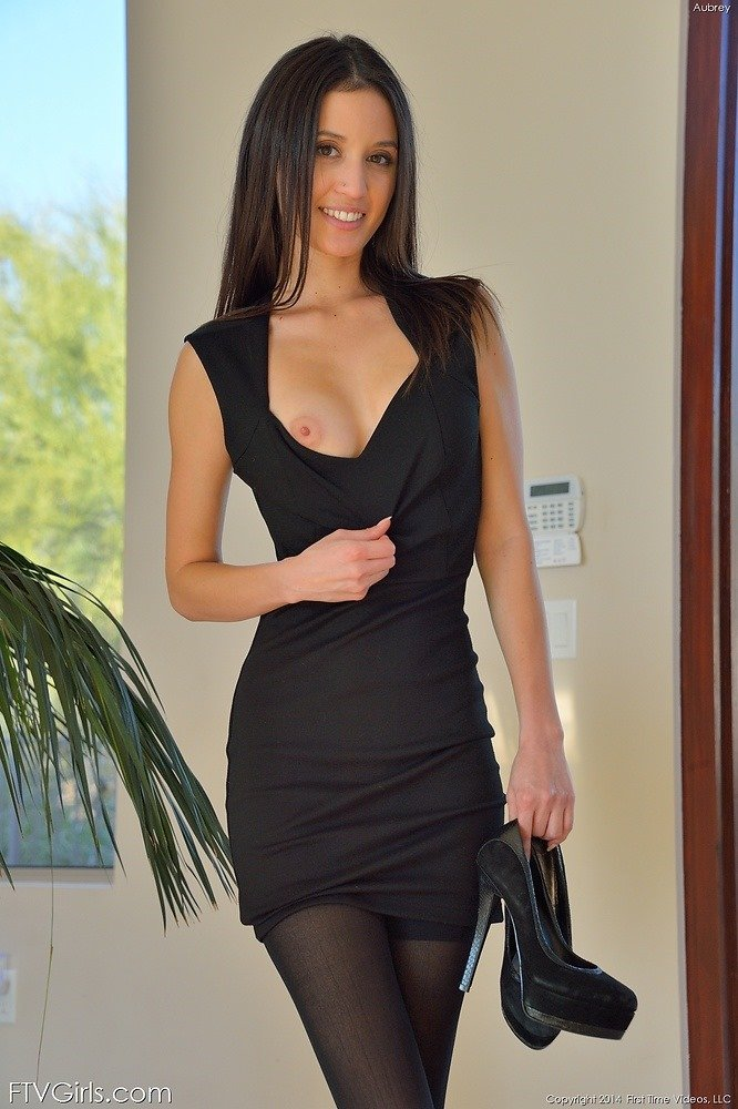Aubrey in black pantyhose