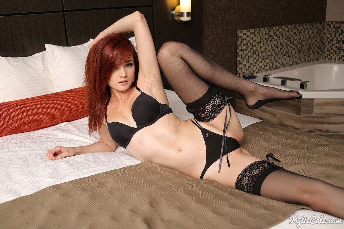 Redhead stockings thigh high